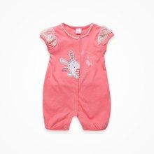 丑丑婴幼女童连体哈衣爬服夏季新款3个月-1岁女宝短袖公主哈衣