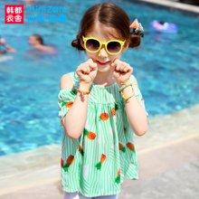 米妮哈鲁童装2017夏装新款女童韩版中大童短袖儿童衬衫ZY5463鋐