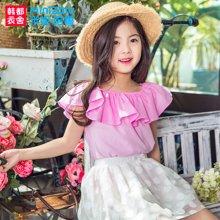米妮哈鲁童装2017夏装新款女童上衣中大童韩版短袖衬衫XE6577駺