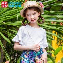 米妮哈鲁童装2017夏装新款女童休闲上衣圆领短袖儿童衬衫XE6605駺