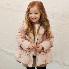 康衣儿宝宝羽绒服女童羽绒服小童印花中长款反季羽绒衣冬1-3-6岁
