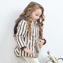 康衣儿羽绒服正品条纹女童羽绒服小童款宝宝羽绒服小女生外套