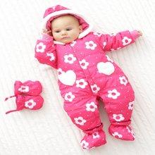 丑丑婴幼冬季新款女宝宝红色碎花防风保暖棉哈衣三件套