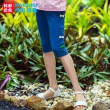 米妮哈鲁2017夏装新款女童韩版中大童五分裤牛仔裤ZW5151徍