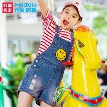 米妮哈鲁童装2017夏装新女童韩版牛仔背带裤儿童短裤ZY6227鋐0324