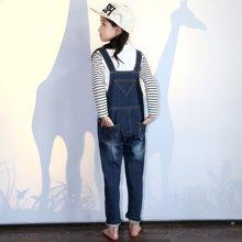 米妮哈鲁童装秋装新款女童牛仔背带裤韩版宝宝儿童牛仔长裤