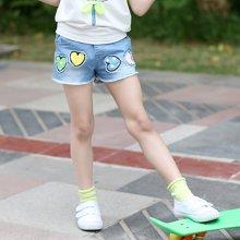 米妮哈鲁童装夏装新款女童韩版短裤儿童牛仔裤ZO3158熣