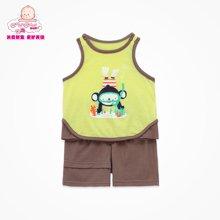 丑丑婴幼夏季新款男宝宝背心针织套装男童休闲背心外出服套装