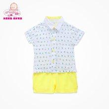 丑丑婴幼夏季新款男宝宝单排扣开衫衬衫两件套休闲套装