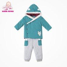 丑丑婴幼冬季新款男宝宝条纹图案连帽棉套装90码以下可开档