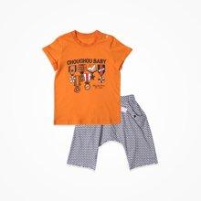 丑丑婴幼 夏季新款男童短袖外出套装 宝宝卡通衣服