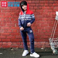 米妮哈鲁童装2017冬装新款男童儿童加绒保暖两件套装YJ7126樂0904