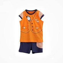 丑丑婴幼夏季新款男宝宝纯棉休闲运动短袖短裤套装