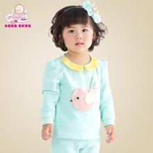 丑丑婴幼 女宝宝春装新款 可爱圆领精美图案 长袖长裤套装