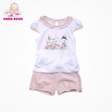 丑丑婴幼夏季女宝宝纯棉圆领套服 小飞袖清爽幼儿娃娃领童装女 6个月-3岁