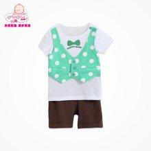 丑丑婴幼夏季新款男宝宝圆领针织假两件圆点90码以下可开档针织套装