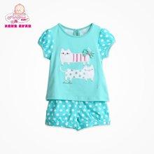 丑丑婴幼 夏季新款1-4岁女宝宝卡通短袖套装女童外出服套装