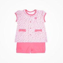 丑丑婴幼 女宝宝前开短袖套装 夏季新款婴童休闲套装 6个月-2岁