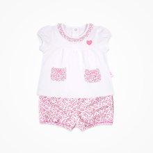 丑丑婴幼 夏装新款女宝宝碎花套装婴幼儿短袖套头衫6个月-2岁