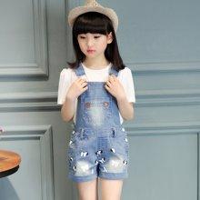 芃拉童装女童套装夏装2017新款中大韩版背带短裤两件套潮儿童629A32