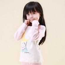 快乐城堡  女童莱卡棉圆领打底衫 时尚卡通图案家居服 单件上衣HG44781