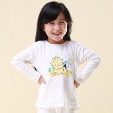 快乐城堡  儿童打底衫女童装长袖装 女大童圆领纯棉T恤新款卡通 单件上衣 HG44701