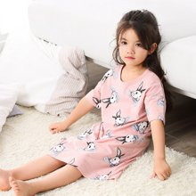 领秀范儿女童睡衣儿童睡裙短袖春夏季纯棉公主女孩中大薄款亲子家居服宝宝SQ021