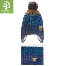 KK树新款宝宝帽子围脖两件套冬女童帽子围巾套装护耳帽子保暖时尚  KQ16047