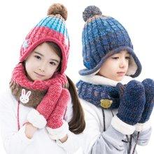 KK树新款儿童帽子围脖手套三件套保暖秋冬男童女童宝宝帽子套装潮     KQ16124