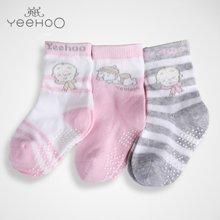 YEEHOO/英氏 女童宝宝3双装中筒袜子 NA41110-64-2