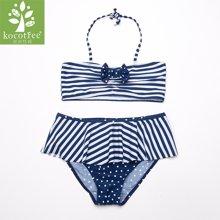 KK树儿童泳衣女孩比基尼可爱大童女童分体游泳衣夏天防晒公主泳裙  KQ17025  包邮
