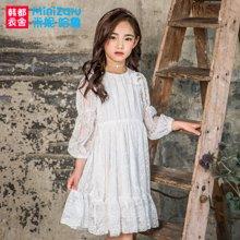 米妮哈鲁童装2018春装新款女童裙子儿童公主裙蕾丝连衣裙ZY7252鋐