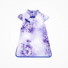 丑丑婴幼 夏季新款女宝宝时尚印花斜开盘扣立领短袖旗袍