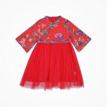 丑丑婴幼  夏季新款女宝宝民族风雷丝斜开盘扣短袖连衣裙