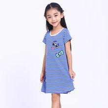 快乐城堡简约时尚条纹纯棉睡裙 H72GT304