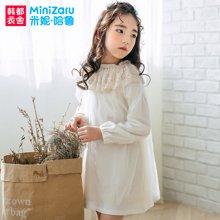 米妮哈鲁童装2018春装新款儿童裙子女童蕾丝连衣裙ZG7036燚0102