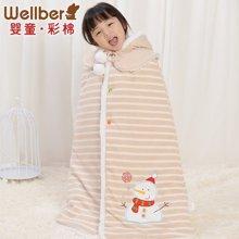 威尔贝鲁 纯棉可脱帽婴儿斗篷 彩棉宝宝披风 披风外套秋冬款加厚