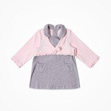 丑丑婴幼 女宝宝假两件连衣裙秋冬新款长袖翻领连衣裙 6个月-3岁