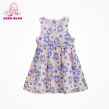 丑丑婴幼夏季新款女宝宝可爱圆领纯棉碎花条纹背心连衣裙