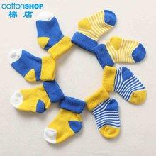 【Cottonshop棉店】 加厚撞色婴童翻口袜四对装黄拼蓝
