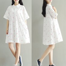 妃孕宝 夏季新款刺绣小花短袖翻领文艺棉布衬衫连衣裙