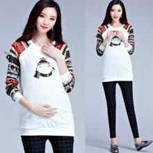 妃孕宝 秋季新款韩版时尚宽松T恤中长款长袖孕妇装上衣孕妇裙