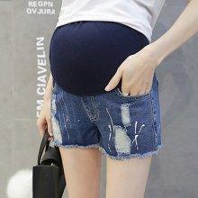 妃孕宝 2017夏季新款韩版破洞托腹喷漆毛边牛仔短裤女热裤孕妇裤