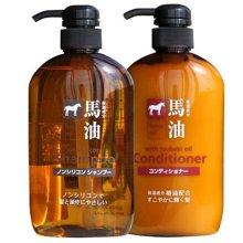 日本熊野油脂 马油滋润洗发水护发素套装 弱酸性无硅油600ml*2