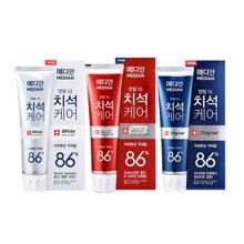 【3支装】韩国MEDIAN麦迪安 86%美白牙膏 红色+蓝色+白色120g