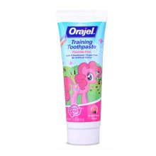 【美国】Orajel欧乐 婴幼儿宝宝儿童牙膏 无氟可吞咽水果味42.5g 粉色小马