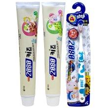 爱敬2080 乐活组8岁+(儿童牙膏树莓100g+儿童牙膏青苹果100g+聪明宝宝牙刷4段(8岁以上)