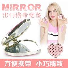 姣兰 粉红色可爱心形圆点小镜子化妆镜 美妆镜 圆镜 随身镜