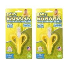 2个装 美国Baby Banana香蕉宝宝 香蕉硅胶牙刷牙胶 黄色