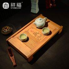 祥福 功夫茶盘 竹制茶盘茶 抽屉式茶海 茶托 小号茶台